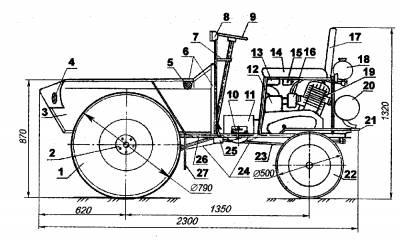 Самодельный мини трактор из Карелии.  На тракторе установлен двигатель от мотоцикла ИЖ Планета-3.